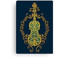 Intricate Blue and Yellow Tribal Violin Design Canvas Print