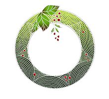Xmas graphic wreath berries by MaikatokDesigns