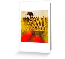 the vineyard on the hill behind the poppy field Greeting Card