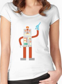 Raygun Robot Invasion Women's Fitted Scoop T-Shirt