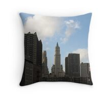 New York Skyline View from South Street Seaport Throw Pillow