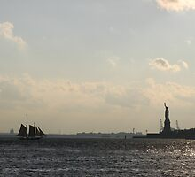 Statue of Liberty silhouette with Tall Ship... by cfam