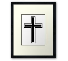 Black christian cross Framed Print