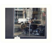 Reflections of Harley Riders on a San Francisco PCH1 Art Print