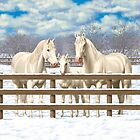 White Quarter Horses In Snow by csforest
