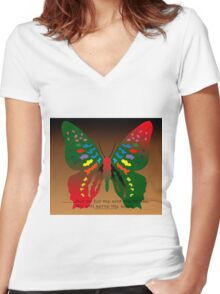 Butterfly with Bible Verse Women's Fitted V-Neck T-Shirt