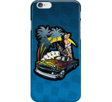California Dreamin' Illustrated Hot Rod Pin Up Girl - Azure Background iPhone Case/Skin