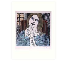 Woodcut Print of Joan  Art Print