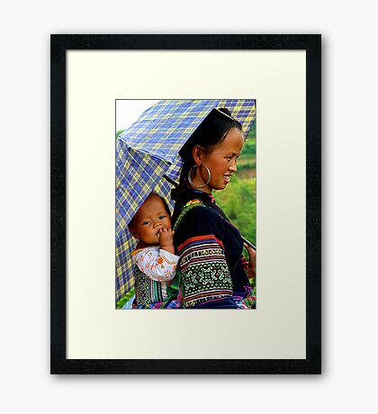 A Baby and his Young Mother - Sa Pa, Vietnam. Framed Print