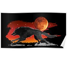 Blood Moon Wolf Poster