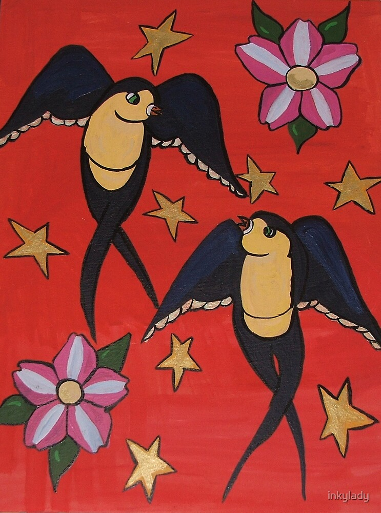 swallows with stars & blossoms  by inkylady