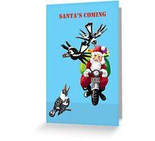 Santa and the magpies Greeting Card