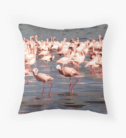 The flamingo shuffle Throw Pillow