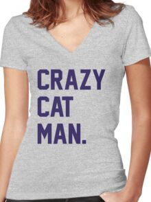 Crazy Cat Man Women's Fitted V-Neck T-Shirt