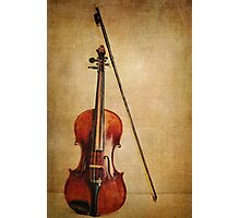 Violin with Bow Photographic Print