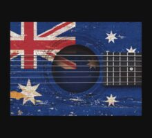 Old Vintage Acoustic Guitar with Australian Flag Kids Tee
