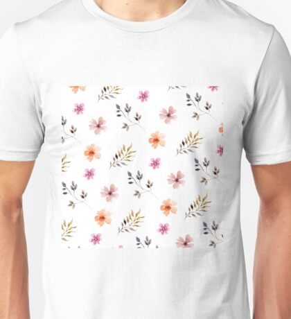 Watercolor Spring Floral Pattern Unisex T-Shirt