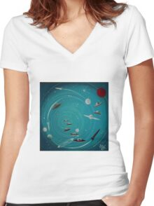 Space Hole 2 Women's Fitted V-Neck T-Shirt