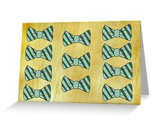 Retro green bow tie on gold Greeting Card