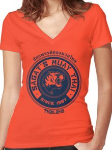 Sagat's Muay Thai Women's Fitted V-Neck T-Shirt