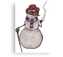 Smoking Steampunk Snowman Canvas Print