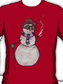 Smoking Steampunk Snowman T-Shirt