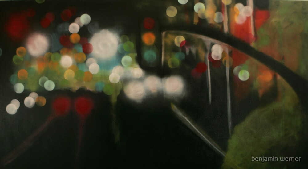 city lights from overpass by benjamin werner