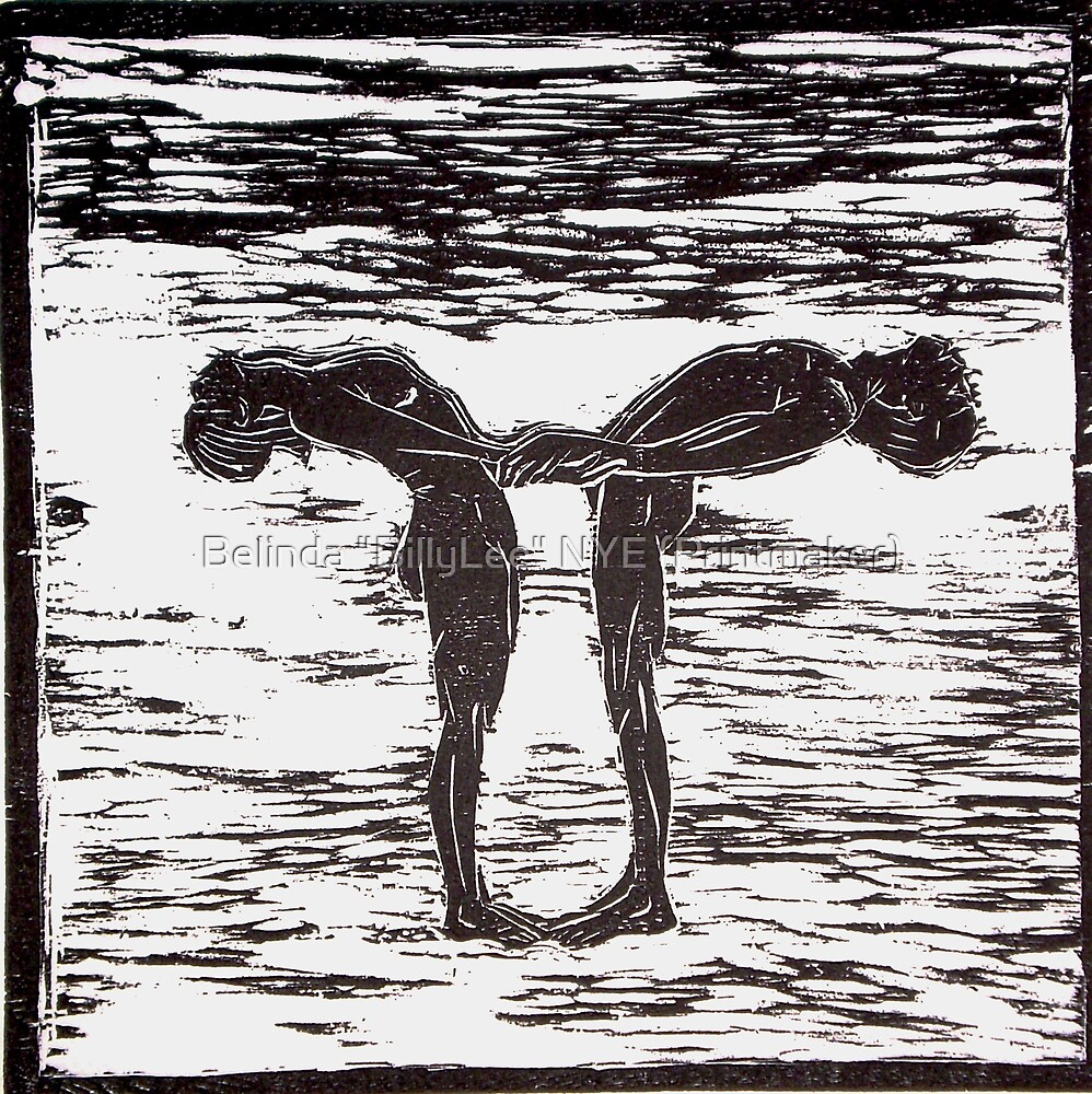 "Yoga Couple 1 - Woodcut by Belinda ""BillyLee"" NYE (Printmaker)"