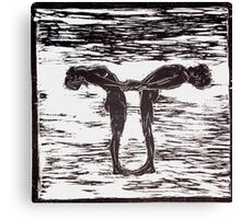Yoga Couple 1 - Woodcut Canvas Print