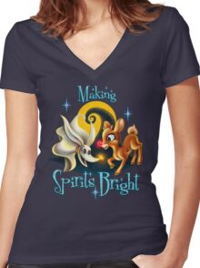 Making Spirits Bright Women's Fitted V-Neck T-Shirt