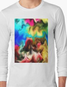 abstract art, blue, purple, yellow, white, red, black Long Sleeve T-Shirt