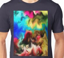 abstract art, blue, purple, yellow, white, red, black Unisex T-Shirt