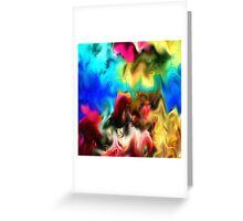 abstract art, blue, purple, yellow, white, red, black Greeting Card