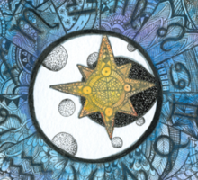 Watercolor Zentangle Zodiac Chart Sticker