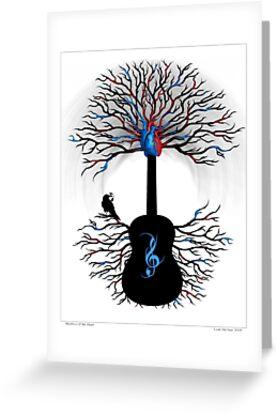 Rhythms of the Heart - ( surreal guitar tree art ) by Leah McNeir