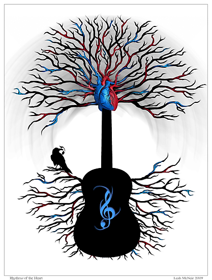 Rhythms of the Heart - ( surreal guitar tree art ) by Leah McNeir