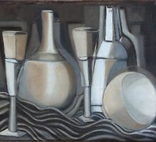 Glasses, Bottles and Bowl by Karen Gingell