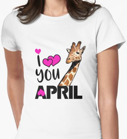 april the giraffe saying tired as a mother Womens Fitted T-Shirt