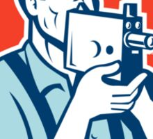Photographer Shooting Vintage Camera Retro Sticker