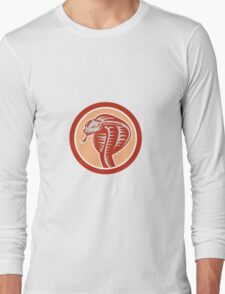 Cobra Viper Snake Head Circle Retro Long Sleeve T-Shirt