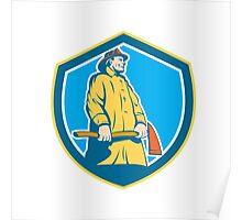 Fireman Firefighter Standing Axe Shield Retro Poster