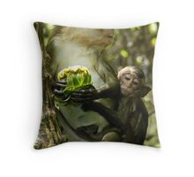 Long Tailed Macaque. Throw Pillow