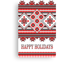 Knitting Pattern Christmas Card - Happy Holidays Canvas Print