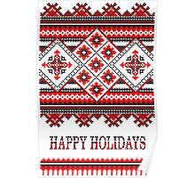 Knitting Pattern Christmas Card - Happy Holidays Poster