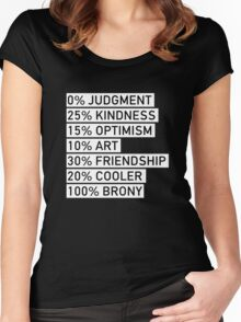 100% BRONY (Black & White) Women's Fitted Scoop T-Shirt