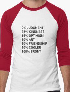 100% BRONY (Black & White) Men's Baseball ¾ T-Shirt