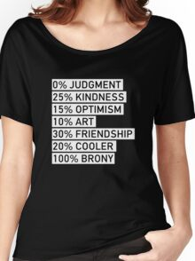 100% BRONY (Black & White) Women's Relaxed Fit T-Shirt