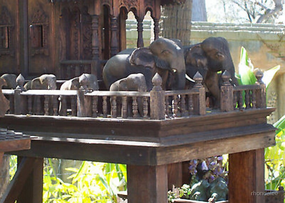 Melbourne Zoo-Carved Elephants. by rhondalee