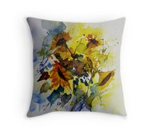 watercolor sunflowers Throw Pillow