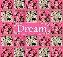 DREAM IN WHITE DAISIES AND PINK FLOWERS by JLPOriginals